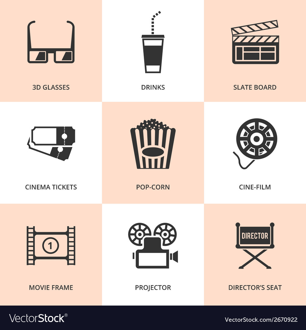 Set of black cinema icons vector | Price: 1 Credit (USD $1)