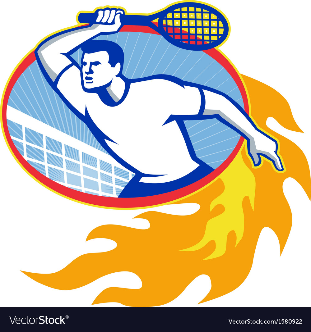 Tennis player racquet retro vector | Price: 1 Credit (USD $1)