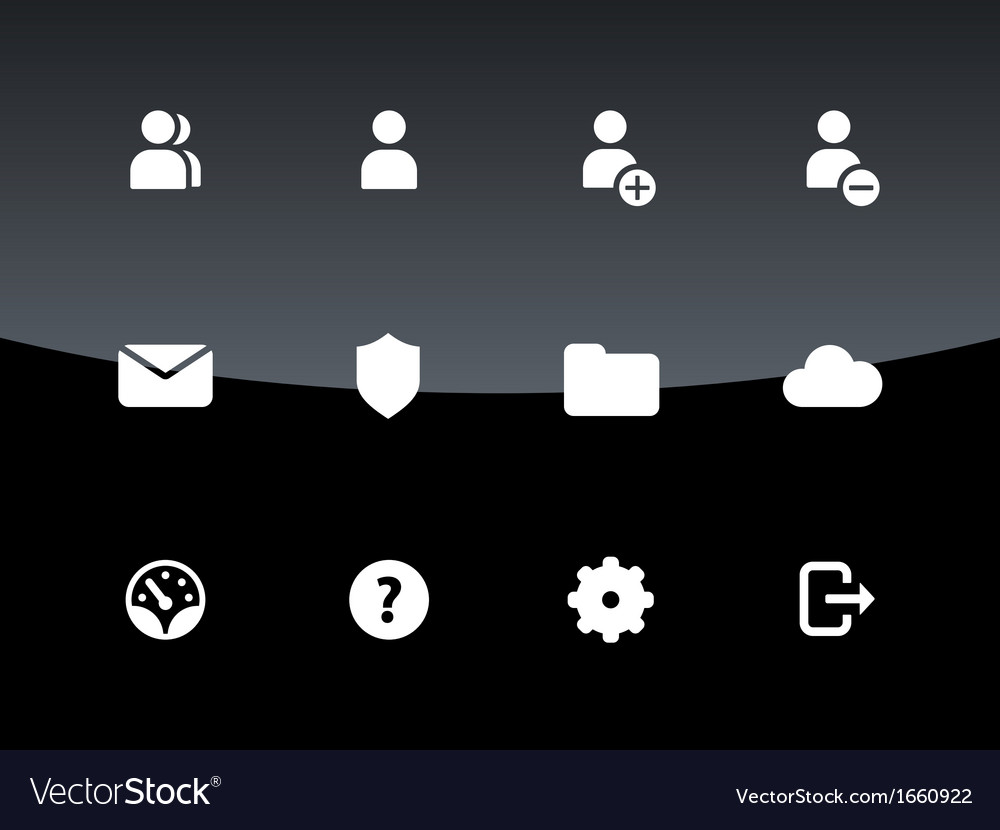 User account icons on black background vector | Price: 1 Credit (USD $1)