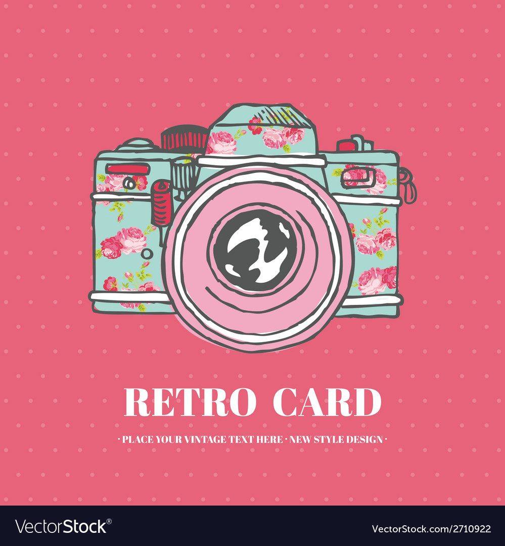 Vintage photo camera with flowers - hand-drawn vector | Price: 1 Credit (USD $1)