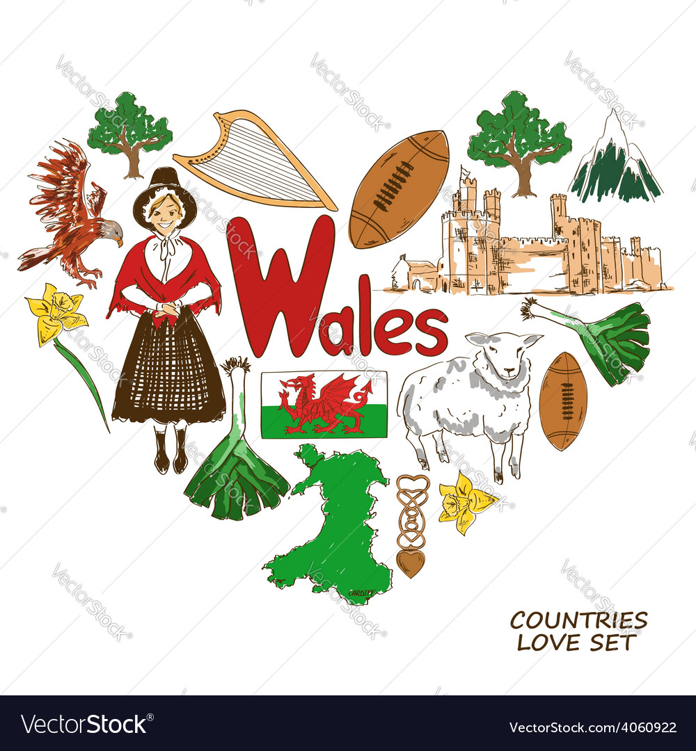 Wales symbols in heart shape concept vector | Price: 1 Credit (USD $1)