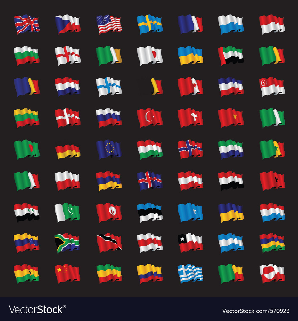 Bunch of world flags vector | Price: 3 Credit (USD $3)