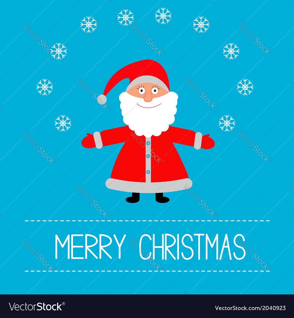 Cartoon santa claus and snowflakes merry christmas vector | Price: 1 Credit (USD $1)