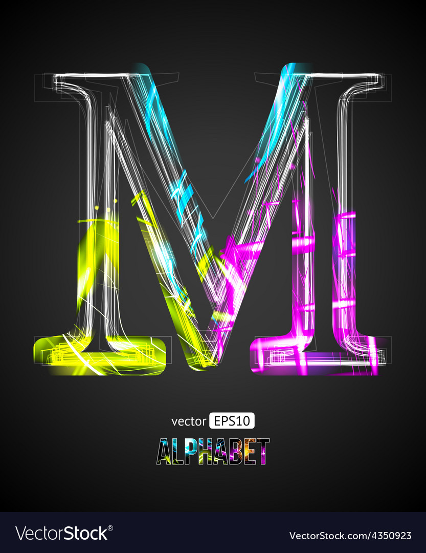 Design light effect alphabet letter m vector | Price: 1 Credit (USD $1)