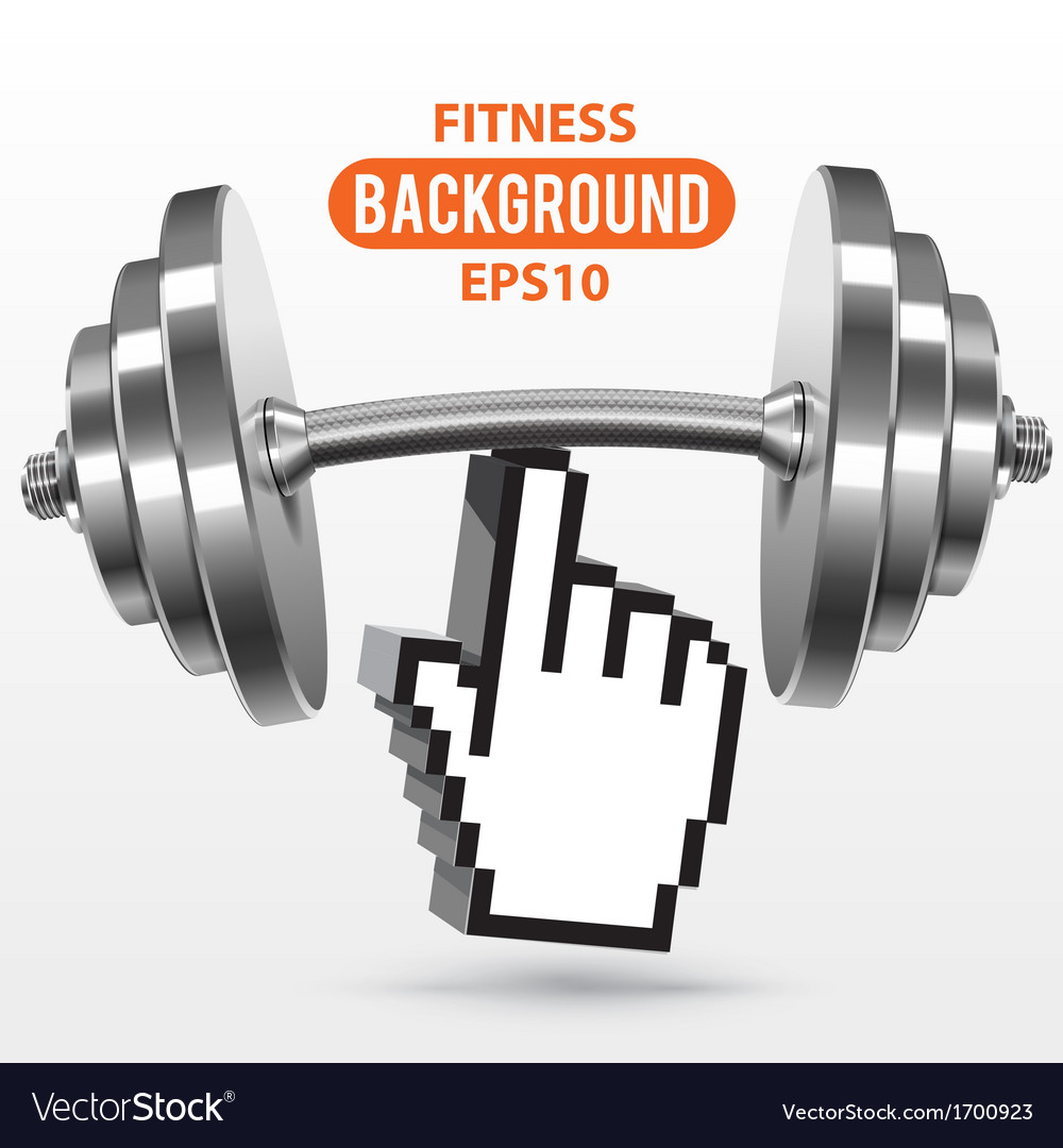 Fitness background with metal realistic dumbbell vector | Price: 1 Credit (USD $1)