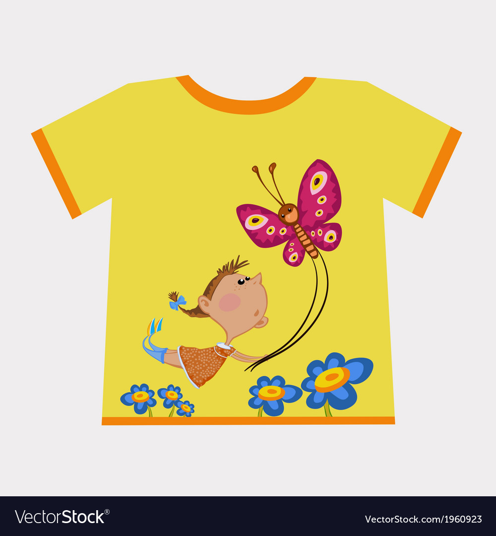 Girl flying butterfly vector | Price: 1 Credit (USD $1)