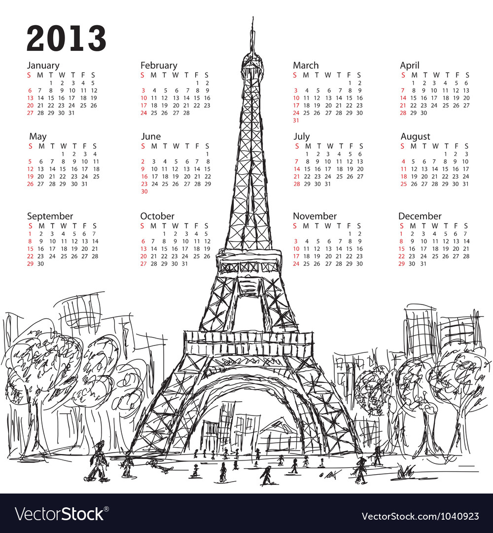 Hand drawn of eifel tower 2013 calendar paris vector   Price: 1 Credit (USD $1)