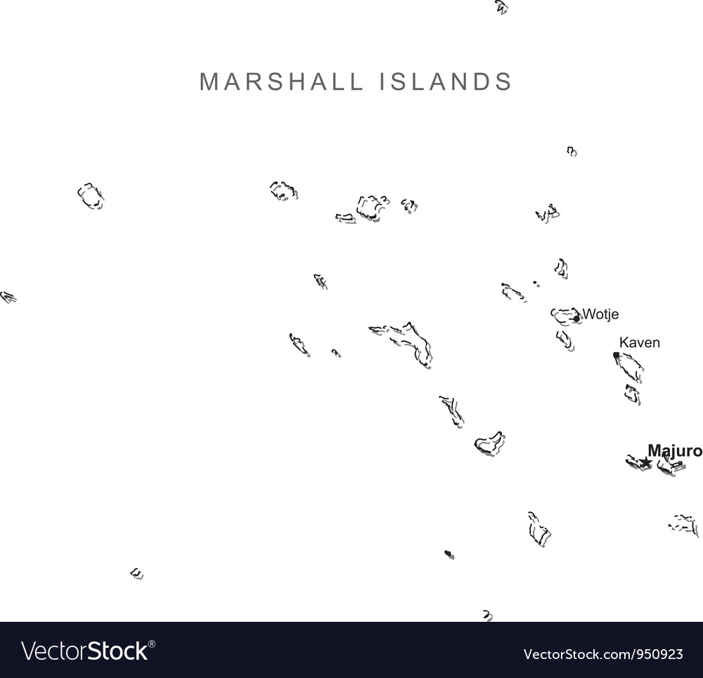 Marshall islands black white map with major cities vector | Price: 1 Credit (USD $1)