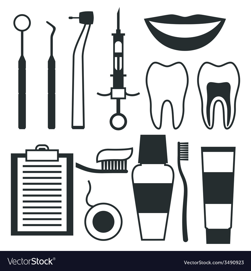 Medical dental equipment icons set in flat style vector | Price: 1 Credit (USD $1)