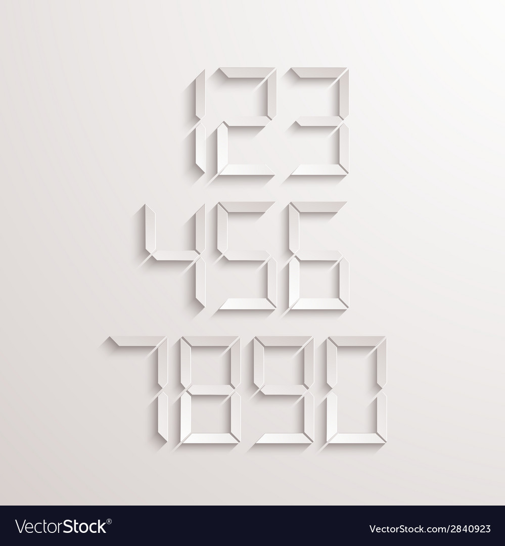Modern electronic numbers set vector | Price: 1 Credit (USD $1)