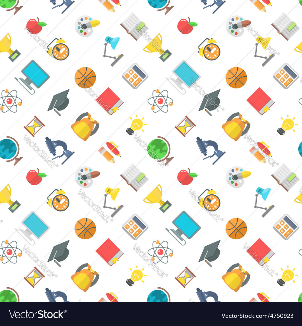 Modern flat school icons seamless pattern vector | Price: 1 Credit (USD $1)