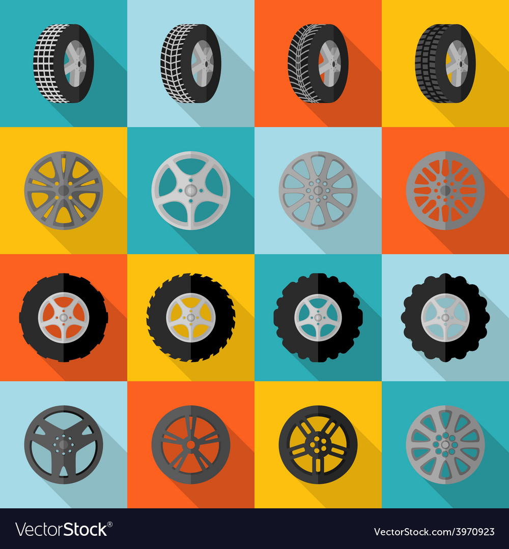Tire icon flat vector | Price: 1 Credit (USD $1)