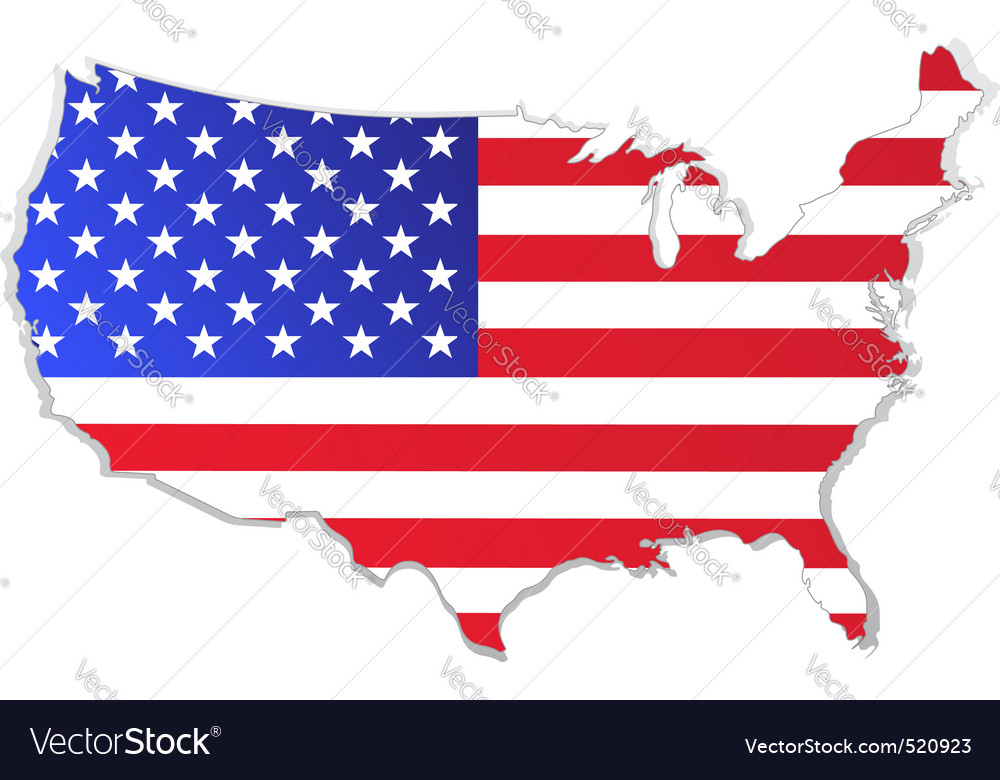 Usa map with flag vector | Price: 1 Credit (USD $1)