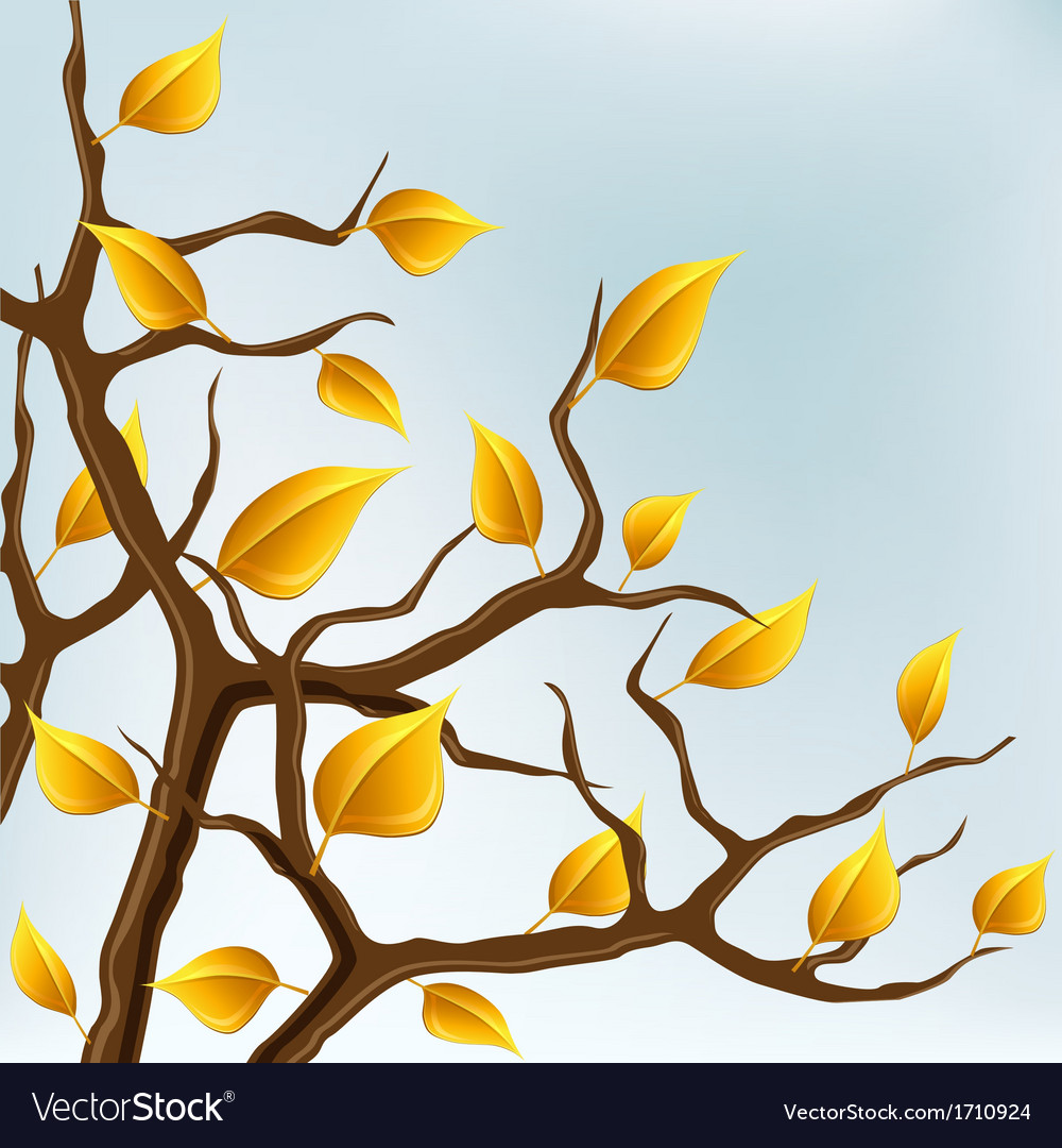 Autumn branch with yellow leaves vector | Price: 1 Credit (USD $1)