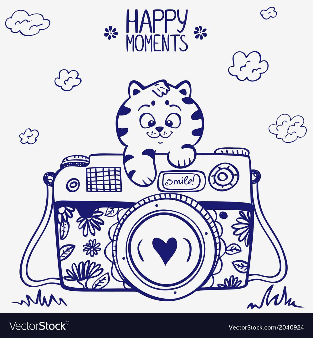 Camera kitten vector | Price: 1 Credit (USD $1)