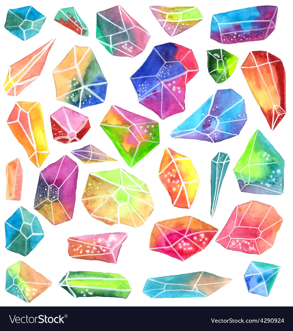 Colorful watercolor gem vector | Price: 1 Credit (USD $1)