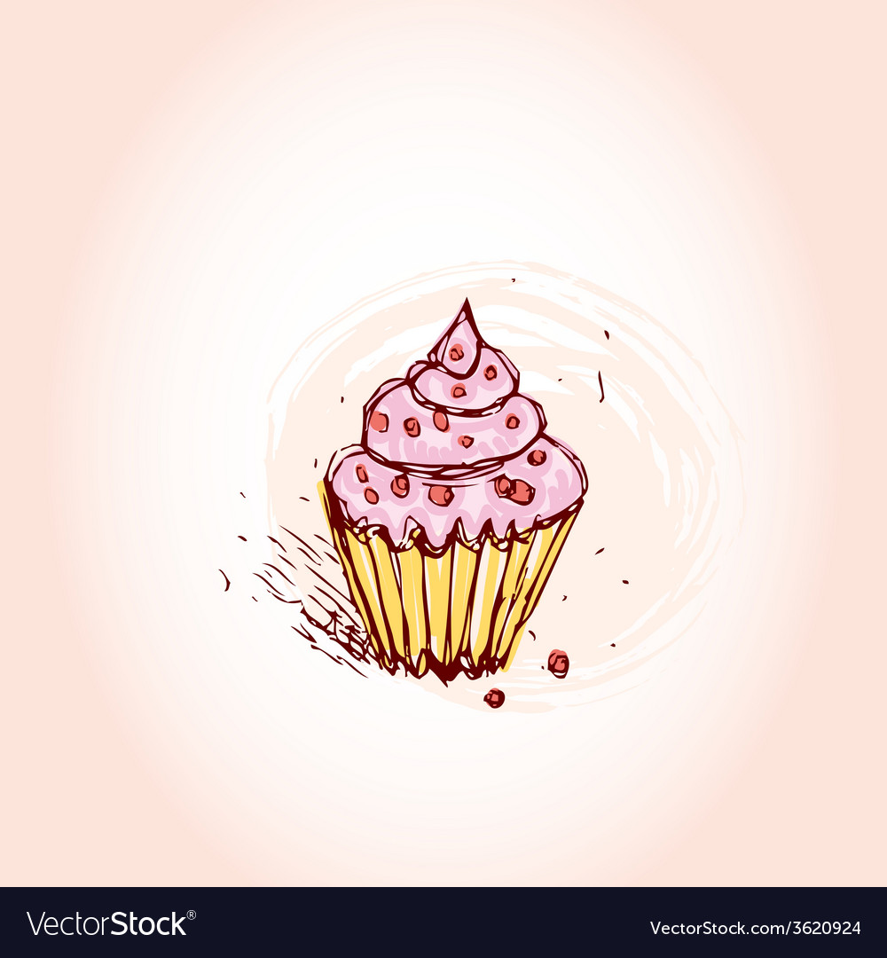 Cupcakes with pink cream hand drawn sketch on pink vector | Price: 1 Credit (USD $1)