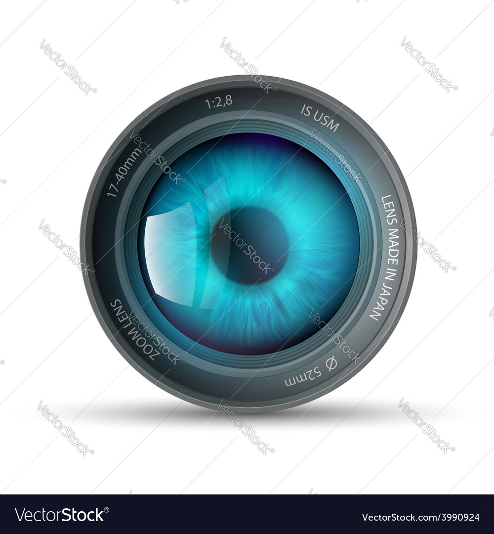 Eye inside the camera lens vector | Price: 1 Credit (USD $1)