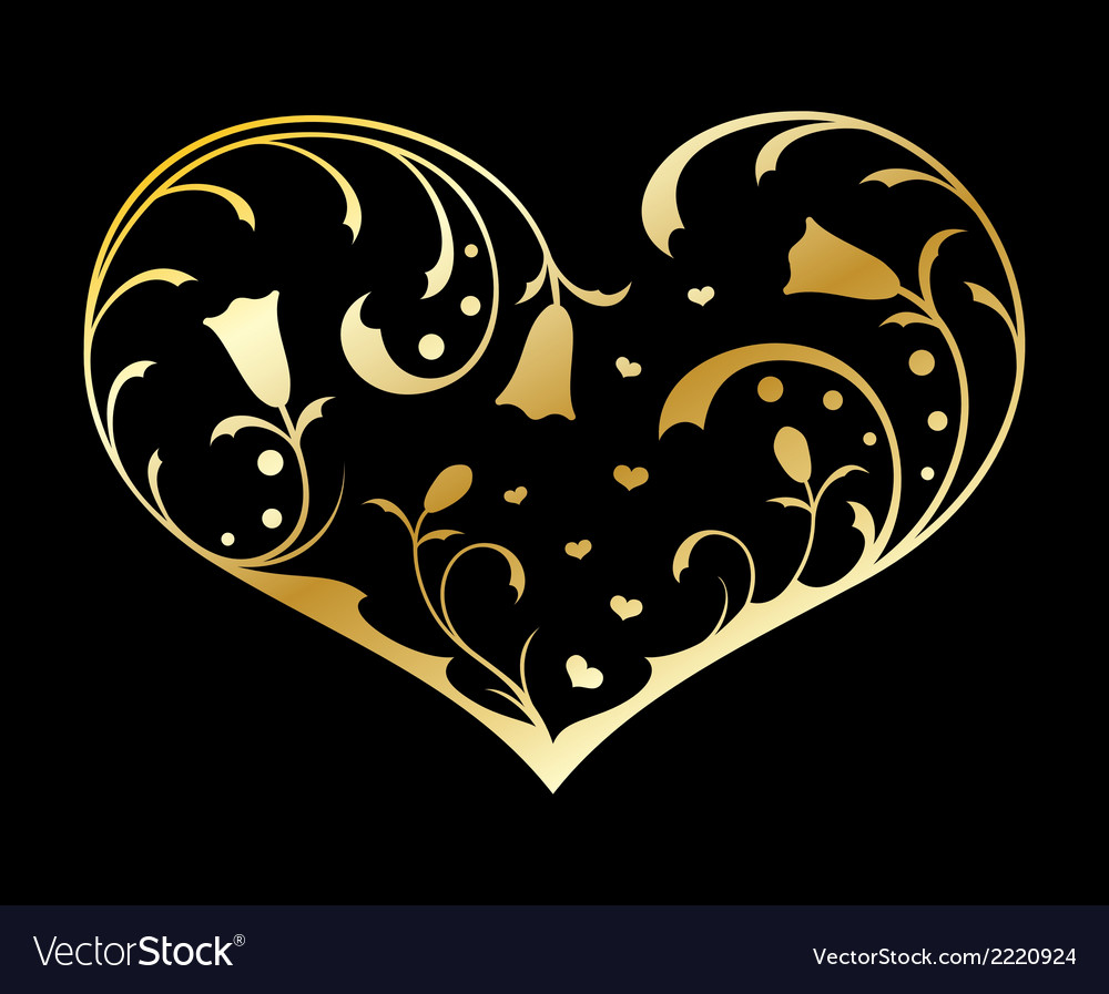 Gold heart with floral decorations vector | Price: 1 Credit (USD $1)