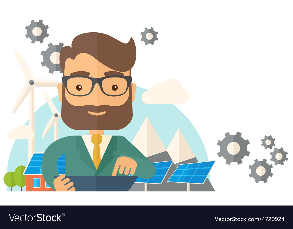 Mid adult male engineer holding blueprint vector | Price: 1 Credit (USD $1)