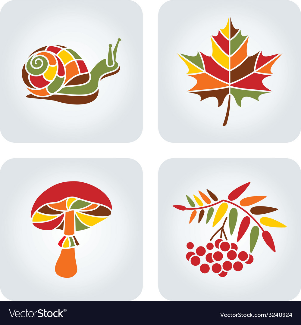 Mosaic autumn icons vector | Price: 1 Credit (USD $1)