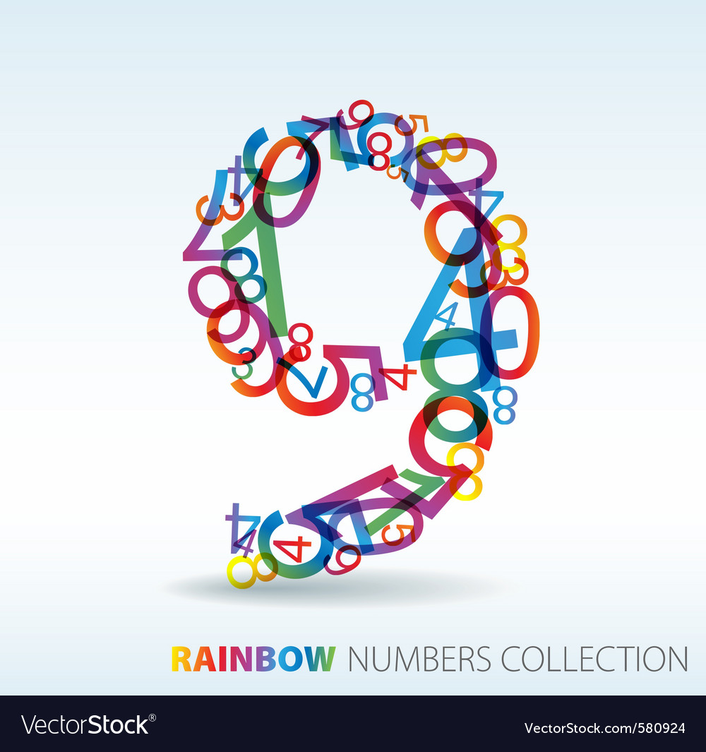 Rainbow number 9 vector | Price: 1 Credit (USD $1)