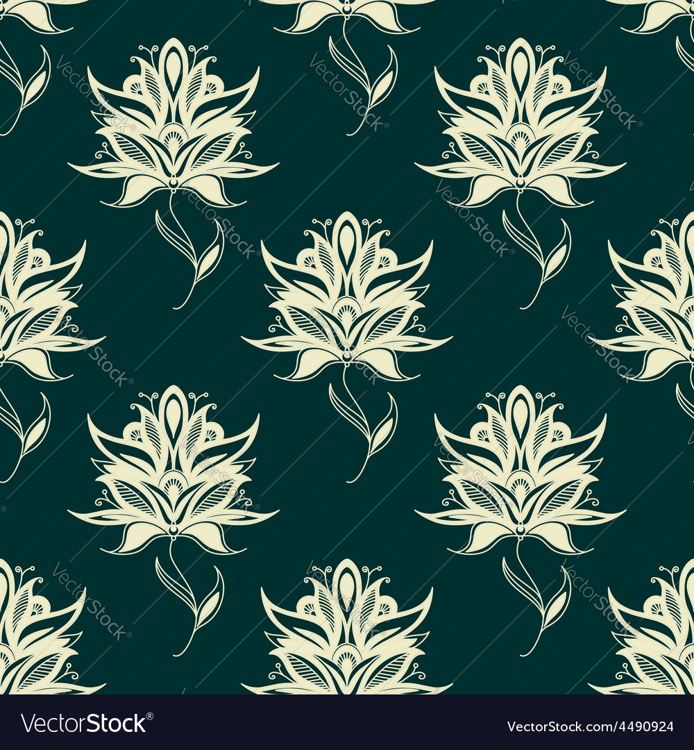 Seamless pattern paisley flowers on twining stems vector | Price: 1 Credit (USD $1)