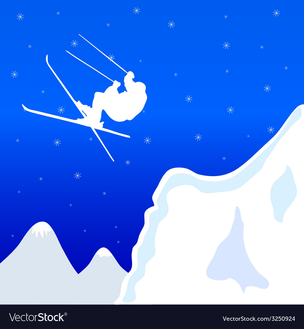 Skiing in winter vector | Price: 1 Credit (USD $1)