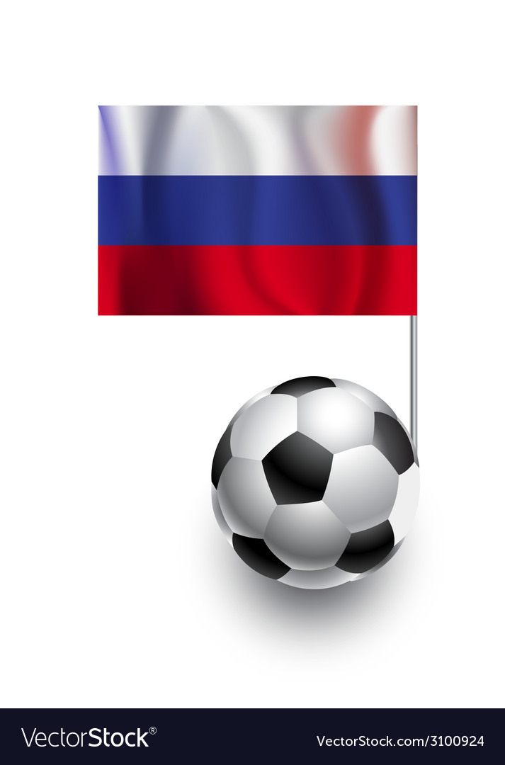 Soccer balls or footballs with flag of russia vector | Price: 1 Credit (USD $1)