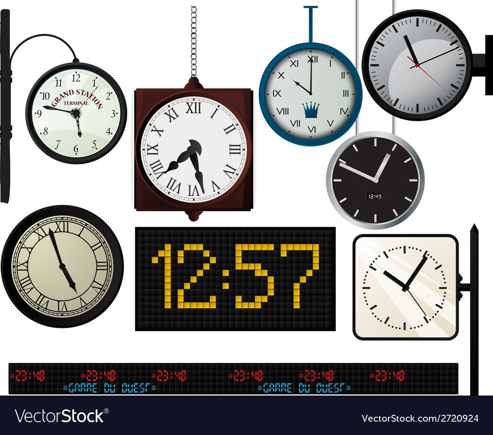 Train station watches collection vector | Price: 1 Credit (USD $1)