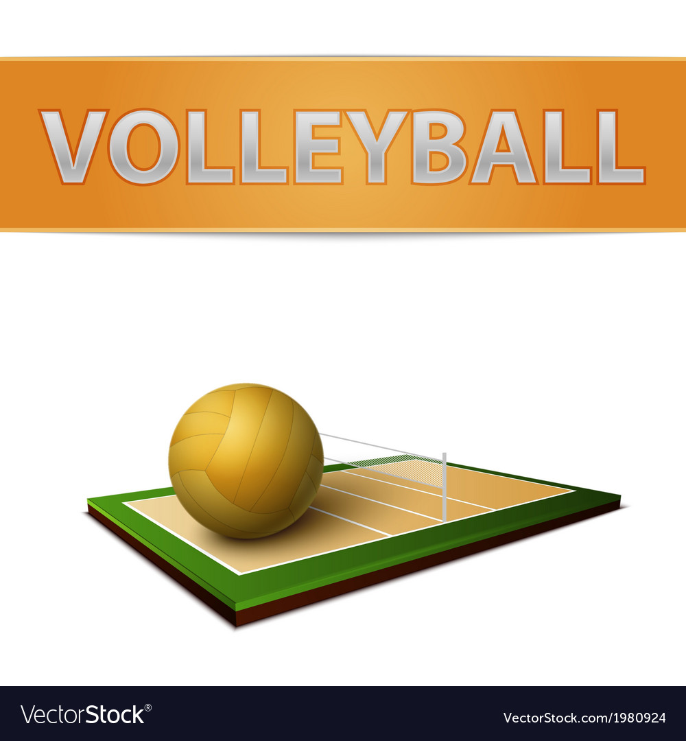 Volleyball ball and field emblem vector | Price: 1 Credit (USD $1)