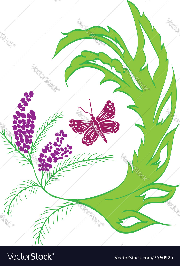 Butterfly with floral2 vector | Price: 1 Credit (USD $1)