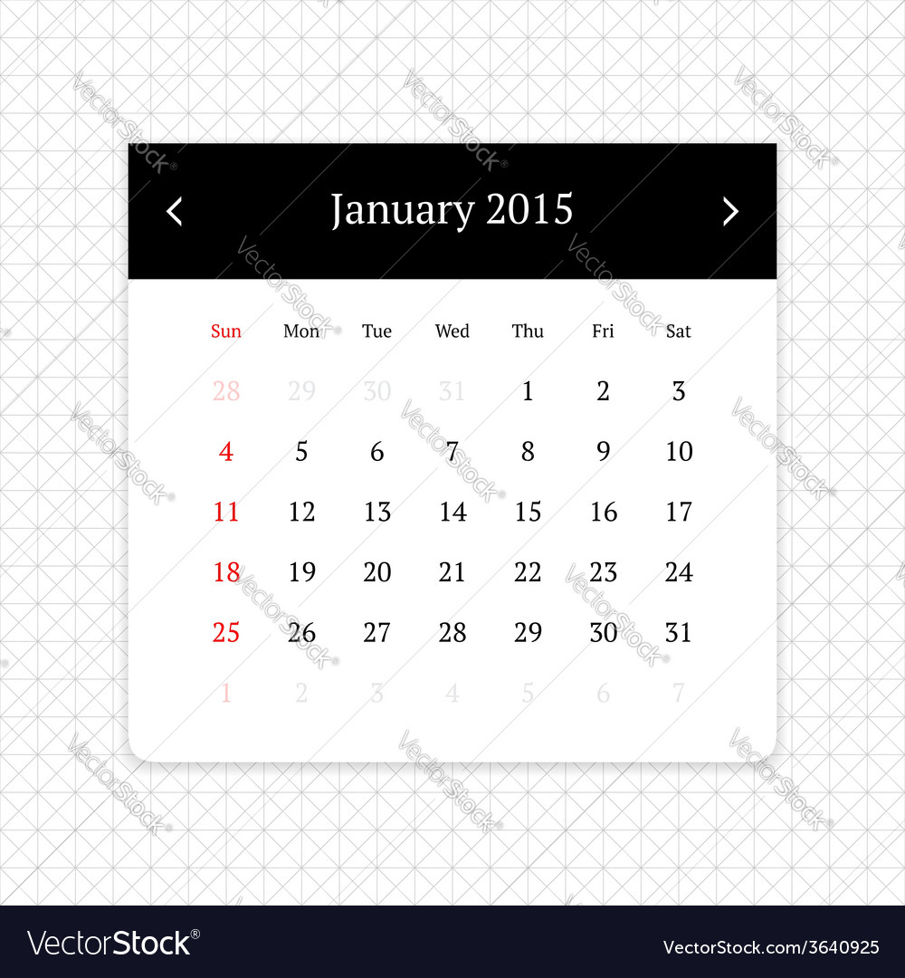 Calendar page for january 2015 vector | Price: 1 Credit (USD $1)