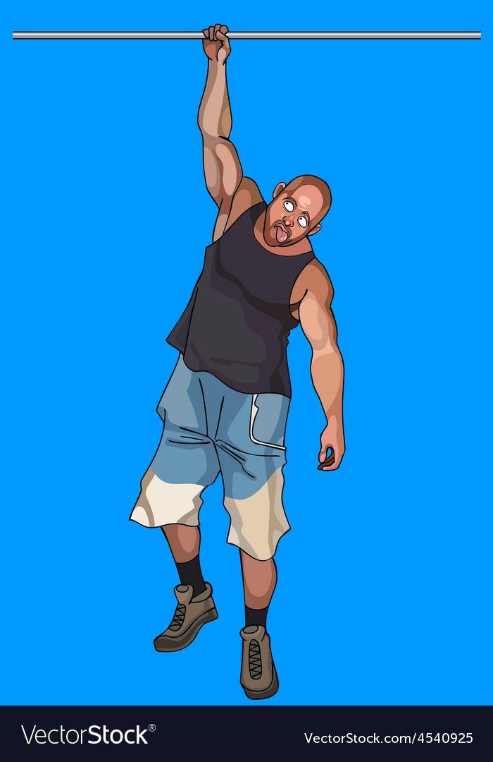 Cartoon man hangs on a crossbeam on one hand vector | Price: 3 Credit (USD $3)