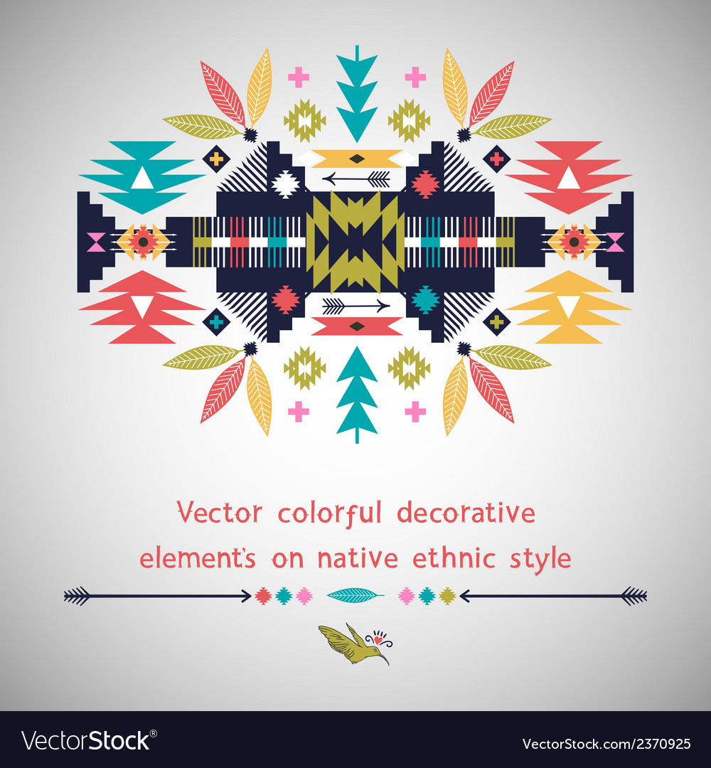 Colorful decorative element on native ethnic style vector | Price: 1 Credit (USD $1)