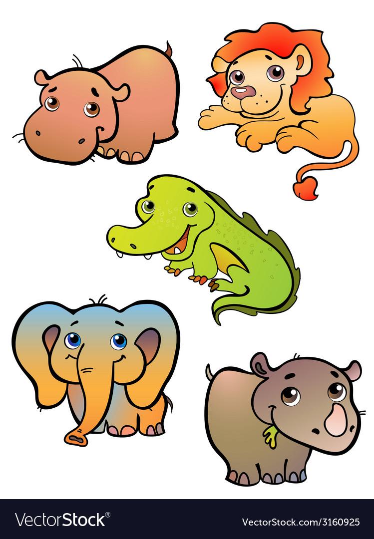 Five african animals vector | Price: 1 Credit (USD $1)