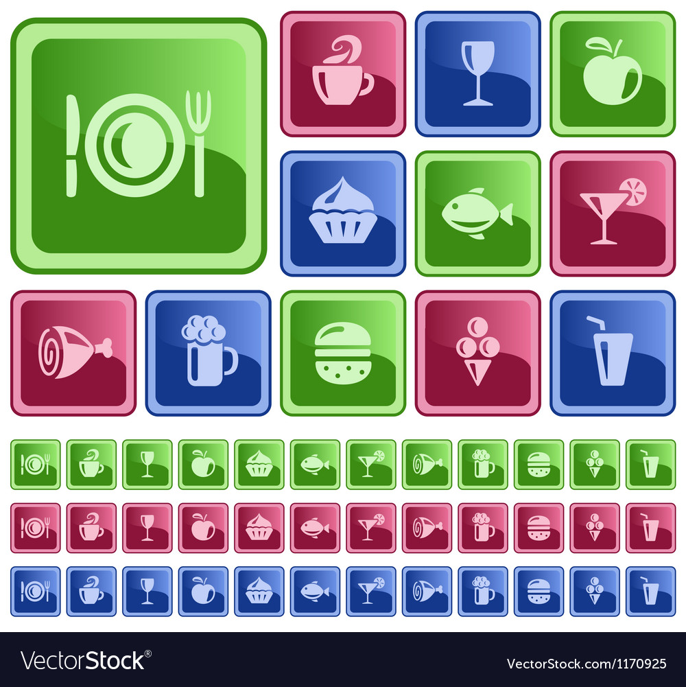 Food and drinks buttons vector | Price: 1 Credit (USD $1)