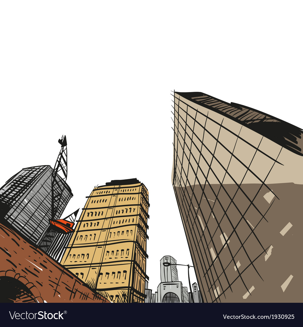 Hand drawn cityscape vector   Price: 1 Credit (USD $1)