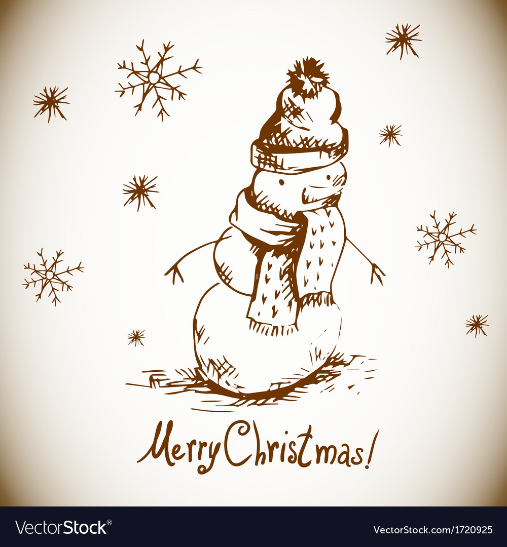 Hand-drawn vintage greeting card with snowman vector | Price: 1 Credit (USD $1)