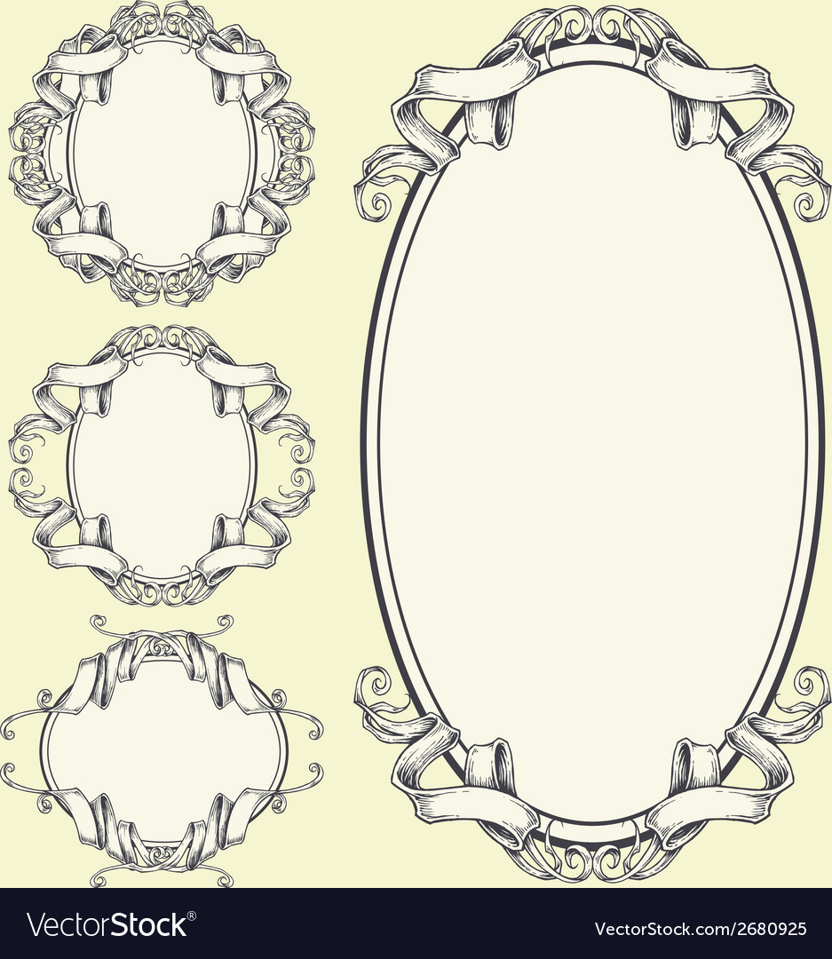 Ribbon frame and border ornaments set 05 vector | Price: 1 Credit (USD $1)