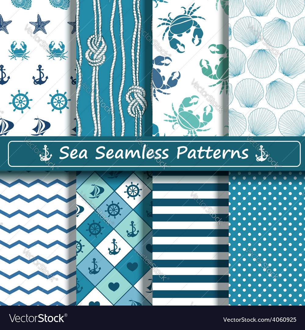 Set of sea seamless patterns vector | Price: 1 Credit (USD $1)