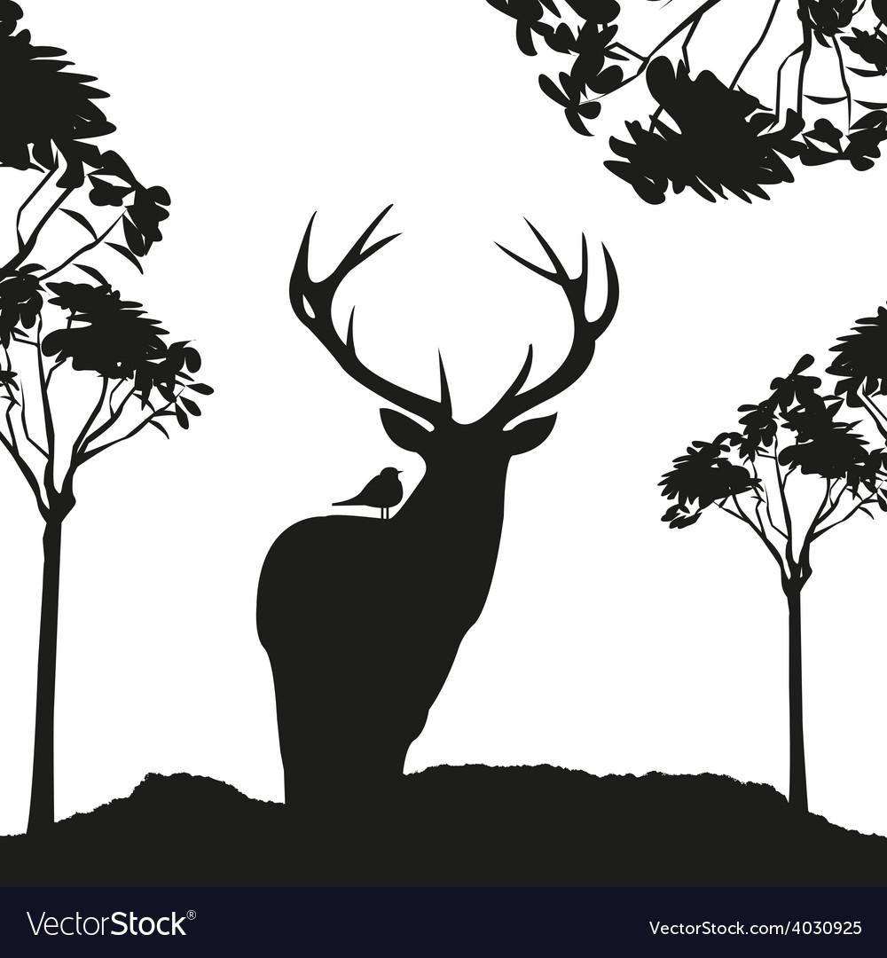 Vecrot black deer in the woods stencil vector | Price: 1 Credit (USD $1)