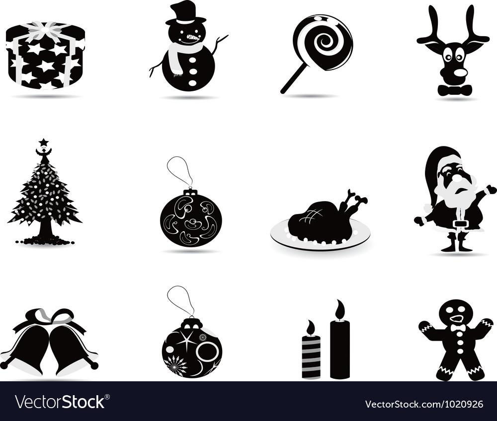 Black christmas icon set vector   Price: 1 Credit (USD $1)