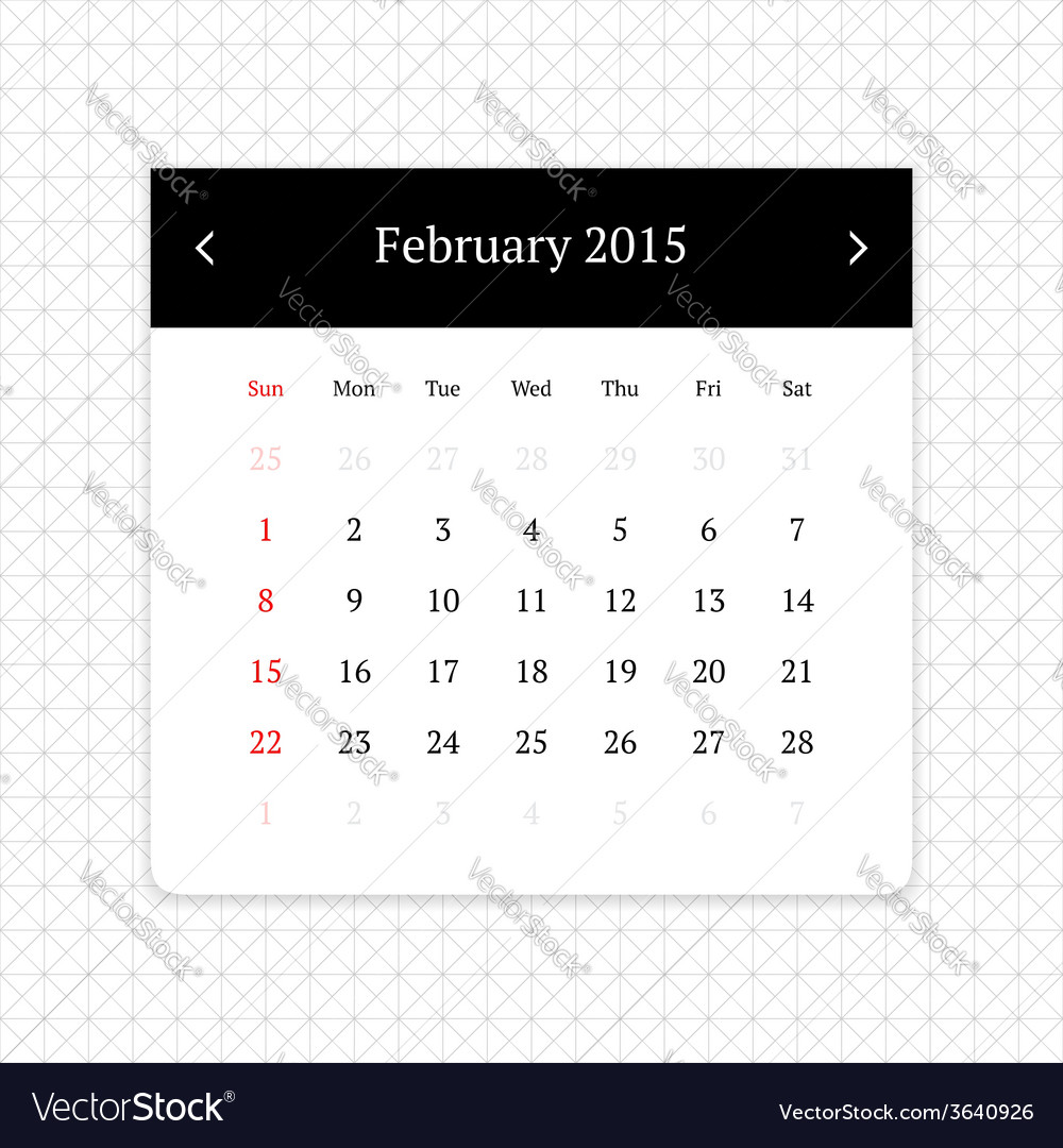 Calendar page for february 2015 vector | Price: 1 Credit (USD $1)