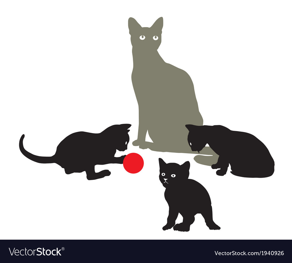 Cat family at play vector | Price: 1 Credit (USD $1)