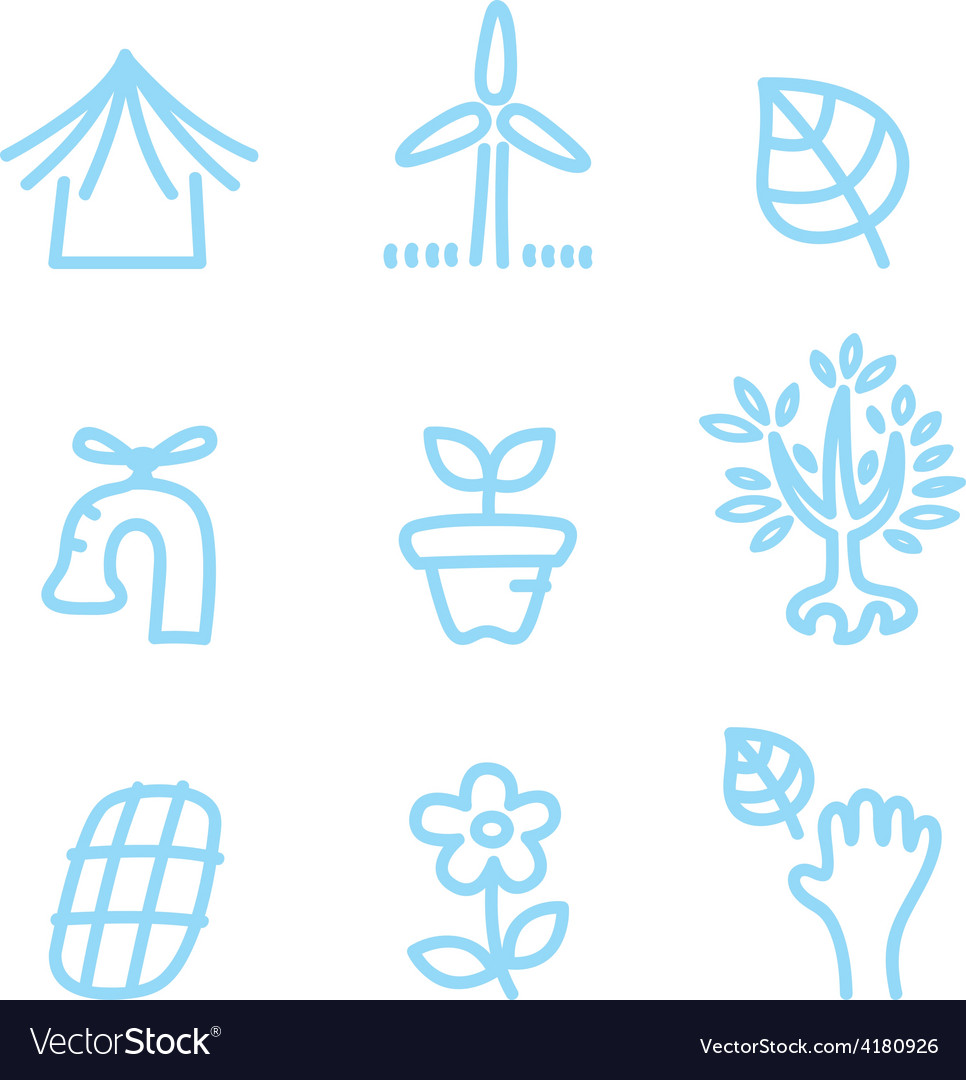 Cute doodle icons isolated on white - blue vector | Price: 1 Credit (USD $1)