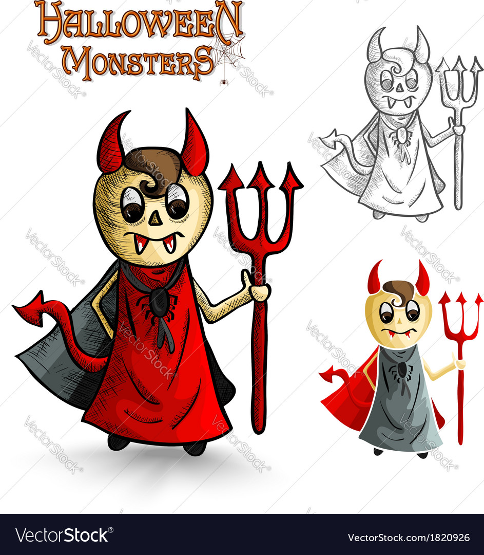 Halloween monsters scary cartoon devil man eps10 vector | Price: 1 Credit (USD $1)