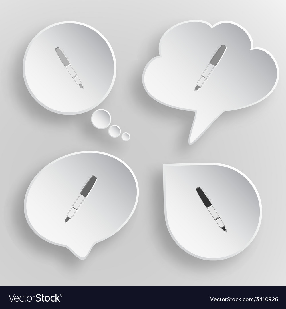 Ink pen white flat buttons on gray background vector | Price: 1 Credit (USD $1)