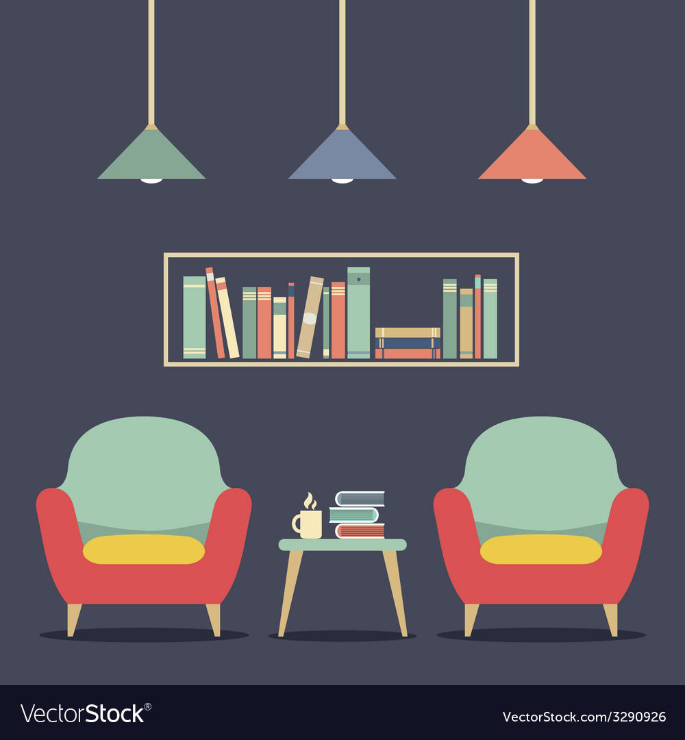 Modern design interior chairs and bookshelf vector | Price: 1 Credit (USD $1)