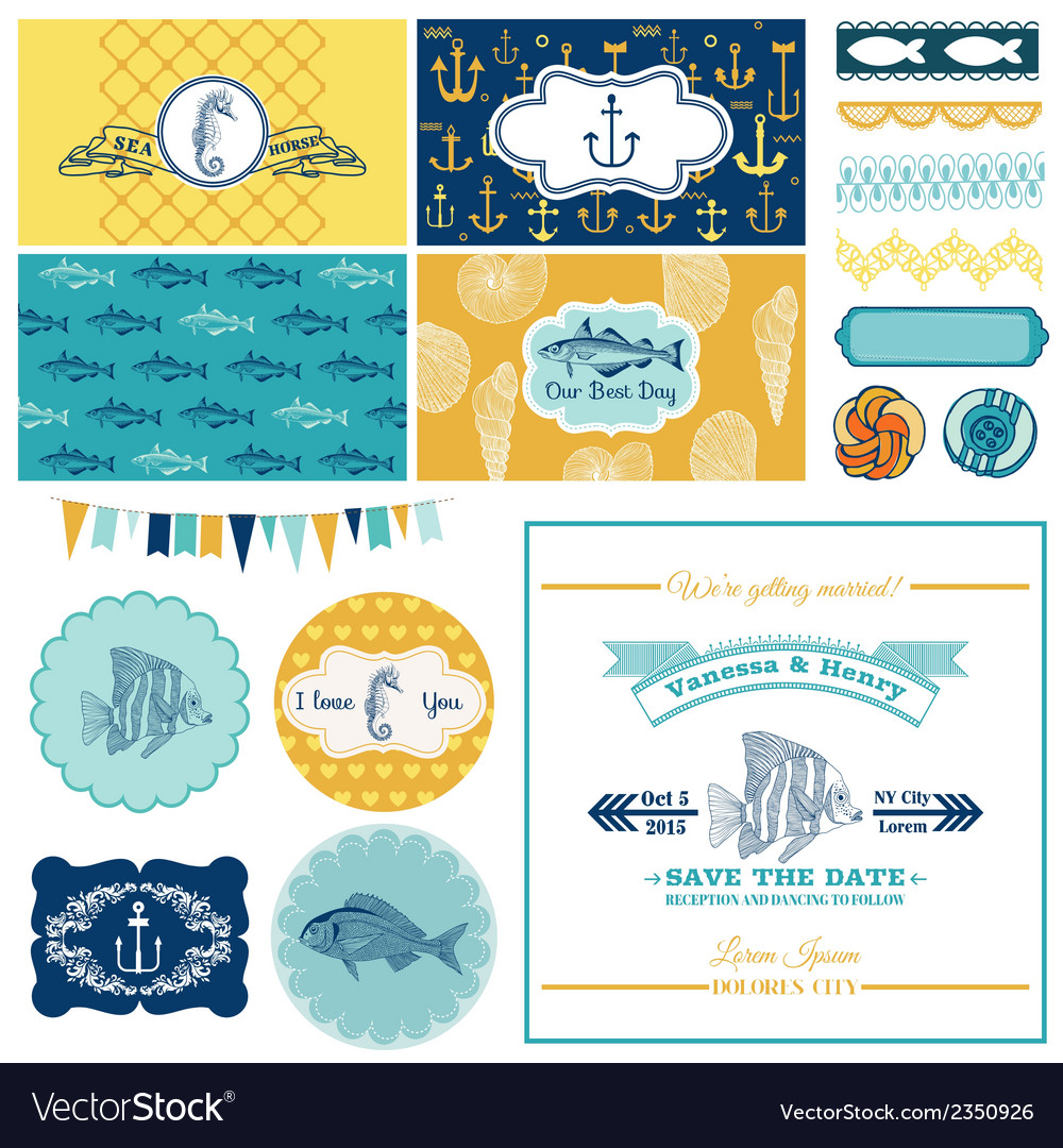 Nautical sea theme set - for party decoration vector | Price: 3 Credit (USD $3)